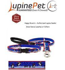 "Lupine Lifetime Dog Leash or Collar- 1""- LIMITED EDITION - PENGUINS - SNOW DANCE"
