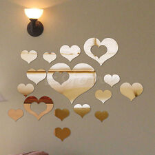 16pcs Love Heart Acrylic Mirror Wall Stickers Decal DIY Home Romantic Art Decor