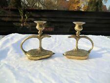 """2  Bronze Kerzenleuchter Mod. Depositato mit """"Schlange"""" aufklappbar Rarität"""