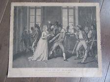 GRAVURE 19° MME ELISABETH DANS LA JOURNEE DU 20 JUIN 1792 PAR pierre BOUILLON