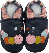 carozoo caterpillar dark blue outdoor 2-3y soft rubber sole leather shoes