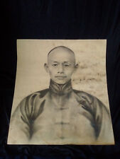 Superb and rare Chinese charcoal portrait XIX boxer rebellion ? signed