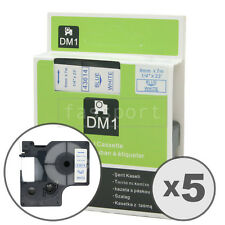 """5pk Blue on White Tape Label Compatible for DYMO 43614 D1 6mm 1/4"""""""