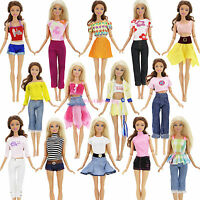 10Pcs 5 Set Lady Outfits Shirt Skirt Jacket Pants Casual Clothes For Barbie Doll