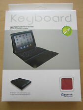 RED Bluetooth Wireless Keyboard Real Leather Carry Case/Stand Apple iPad 1,2,3