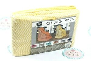 Elite Home Collection Chevron 100% Cotton Pack of Two Yellow Throws Bed Spread