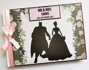 Personalised Batman wedding guest book, comics themed wedding album, gift