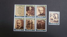 1971 Block of  6 + 1 used Ajman  stamps featuring General De Gaulle - 3d to 35d