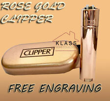 ROSE GOLD Metal Clipper Lighter with FREE ENGRAVING Personalised Gift Message