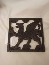 Cast iron Welsh dragon square trivet pot pan holder - kitchen - RUGBY fan gift