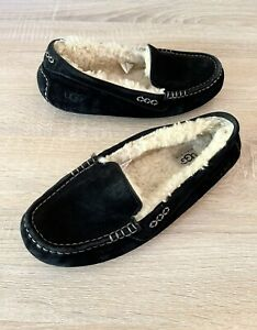 UGG Ansley Black Suede Moccasin Slipper Shoes Women's Size 8