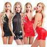 Women Leather Mini Dress Latex Wet Look Bodycon Lingerie Mesh Skirt Club Party