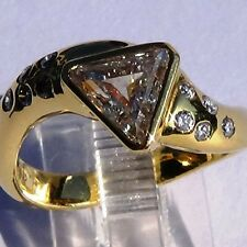 VS1 / G color 1.45ct Natural Trillion DIAMOND RING 18k SOLID GOLD size 6.5