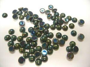 full package,144 preciosa round glass cabascons,11mm green iridescent
