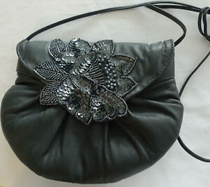 """Beaded Sequined Charcoal Gray Evening Bag Shoulder Crossbody 9"""" x 7"""" x 3"""""""