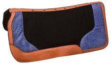NEW BLUE WESTERN WOOL FELT COWHIDE THERAPEUTIC SHOCK HORSE SADDLE PAD