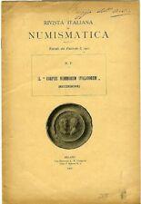 Il Corpus Nummorum Italicorum (Recensione). N.P. Rivista italiana di numism