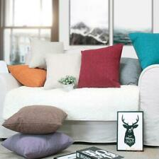 Simplicity Solid color Polyester Flax Pillow case Cushion cover HT-PILDC