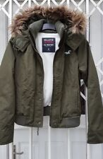 HOLLISTER CALIFORNIA ALL WEATHER FUR HOODED COAT JACKET SIZE M 10 12 KHAKI