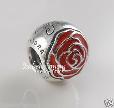 Disney BELLE ENCHANTED ROSE Genuine PANDORA Silver/Red BEAUTY & THE BEAST Charm