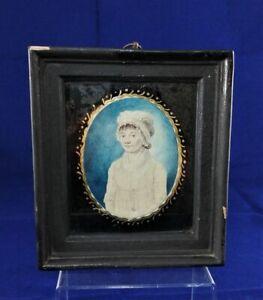 Antique Portrait Miniature Painting of Girl 19th century