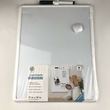 Magnetic Dry Erase Board White Plastic Frame 11 x 14 Inches Magnetic with defect