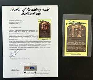 TED WILLIAMS Autographed HOF Plaque Postcard-PSA/DNA Authenticated & Graded a 9