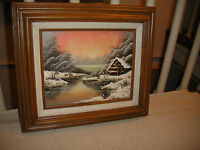 Original Oil Painting On Canvas By William Cottage By The Snowy Lake Framed