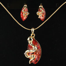 2PC Gold Filled Red Garnet Austrian Crystal Snake Necklace Earrings Set TL0037
