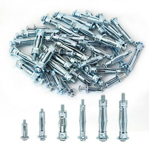 Heavy Duty Zinc Plated Steel Molly Bolt Hollow Drive Wall Anchor Screw Kit 68pcs