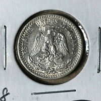 1928 Mexico 20 Centavos Silver Coin UNC Condition