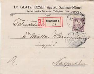 HUNGARY 1931 REGISTERED ADVERTISING COVER SZATMAR-NEMETI 3