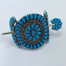 Western Style Silver Tone Turquoise Color Blossom Design Hair Cuff with Pin