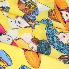 Silk Nylon Elastane Yellow Fashionista Fashion Ladies Print Chiffon Fabric