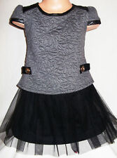 GIRLS GREY BLACK LEATHERETTE TRIM QUILTED TULLE CONTRAST PARTY DRESS age 2-3
