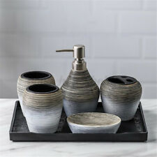 6pcs/set Retro Ceramics Bathroom Accessory Soap Dispenser Toothbrush Cup Holder