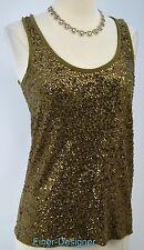 J J.CREW sequined dressy tank top knit cami Shirt Tank Army Green gold SZ XS NEW