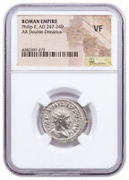 AD 247-249 Roman Empire Silver Double-Denarius of Philip II NGC VF SKU56210