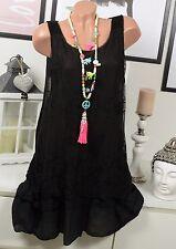 Verano hippie minivestido vestido vintage negro bordado Lagenlook punta 36 - 40