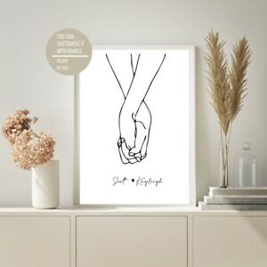 Abstract Line Holding Hands Couple Love Drawing Art Prints Home Decor Modern