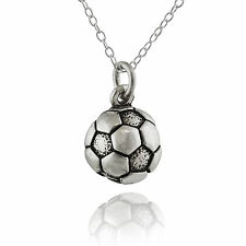 Tiny Soccer Ball Charm Necklace - 925 Sterling Silver - Sports Team Athlete NEW