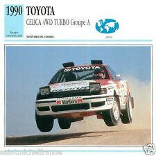 TOYOTA CELICA 4WD TURBO Groupe A 1990 CAR VOITURE JAPAN JAPON  CARTE CARD FICHE