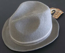"""NWT Pugs Gear """"Fedora"""" Paper Straw hat  Unisex color Lt Gray One Size fits most"""