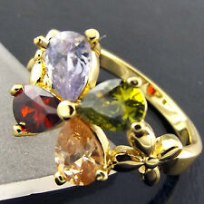 FSA514 GENUINE REAL 18K YELLOW GF GOLD LADIES AMETHYST SPINEL RUBY SAPPHIRE RING