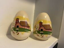 Vintage Pottery Ceramic Farm Scene Shakers Egg Oval Shape - Cork Plugs