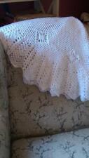 Crochet Circular Baby White Travel sized Heirloom Baby pram Shawl