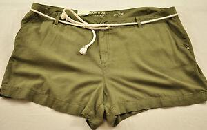 women's Sonoma shorts size 24W olive front zipper mid rise rope belt four pocket