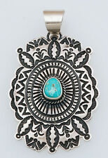 Navajo Handmade Sterling Silver with Blue Gem Turquoise Pendant by D. Cadman