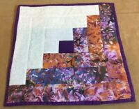 Patchwork Quilt Table Pad Or Wall Hanging, Log Cabin, Contemporary Prints, Multi
