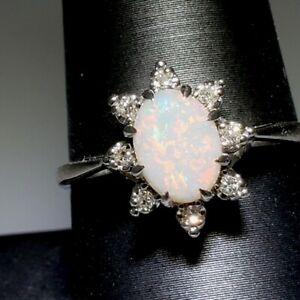 .87 ctw Oval Cabochon Opal & Diamond Halo 14K White Gold Flower Ring Sz 9